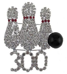 3 Pin/300 Crystal Brooch Брошь 3кегли и 300 в стразах